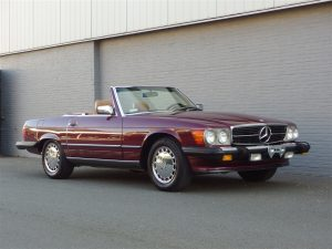 Mercedes 560 SL 1988 (California Import in Stunning Cabernet Red)